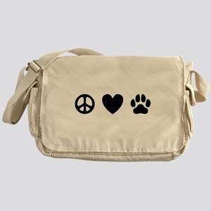 Peace Love Dogs [st b/w] Messenger Bag